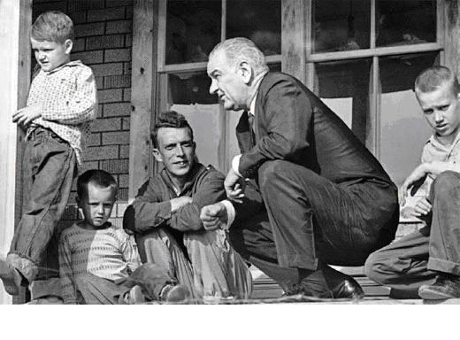 The War on Poverty began with President Lyndon Johnson's visit to Tom Fletcher's front porch in Martin County, Kentucky, in April 1964. Walter Bennett's photo for Time Magazine has become an icon of the '60s